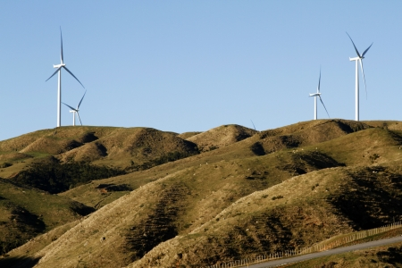 windy energy: Wind turbines on top of hill