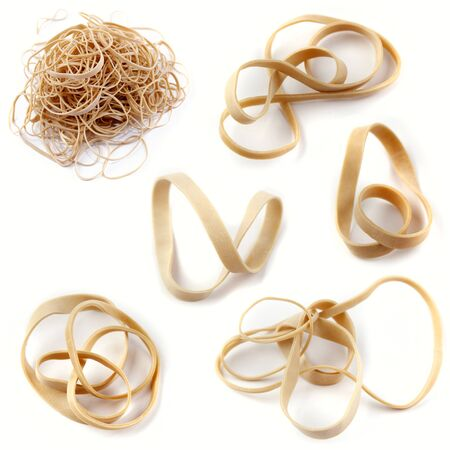 rubberband: Rubber bands on plain background