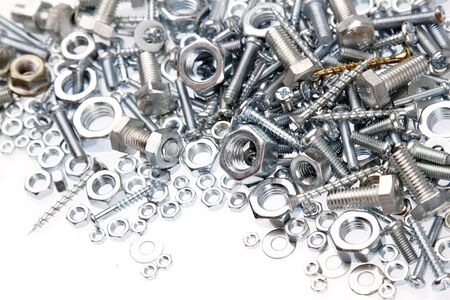 fasteners: Assorted nuts and bolts closeup