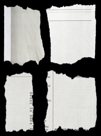 blank newspaper: Pieces of torn paper on black  Copy space