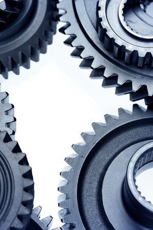 Closeup of metal cog gears photo
