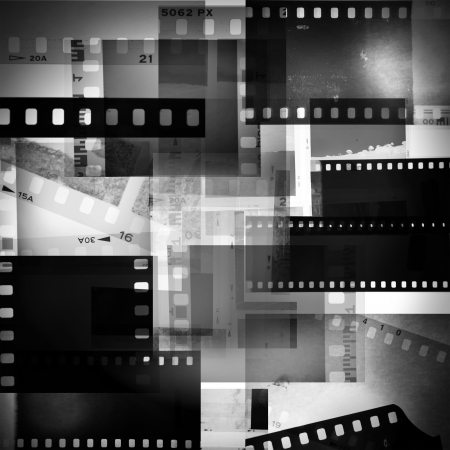 montage: Film negatives overlapping, black and white