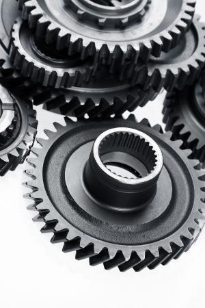 maquinaria: Closeup de engranajes de metal juntos