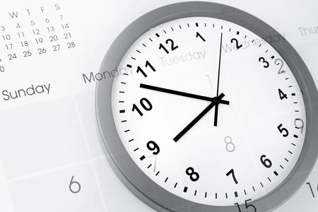 Clock face and calendar composite Stock Photo