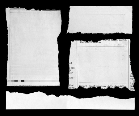 Pieces of torn paper on black  Copy space Stock Photo - 15222128