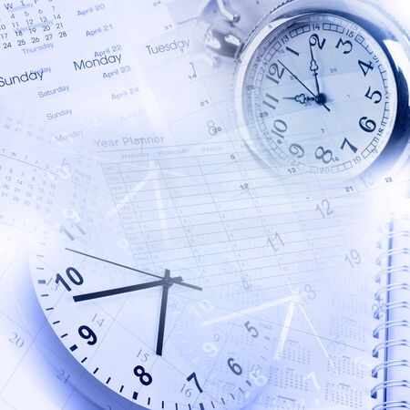 time management: Clock faces, calendars and diary pages