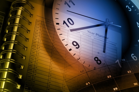 time management: Clock face, calendar and year planner