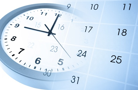 Klok en kalender pagina Stockfoto