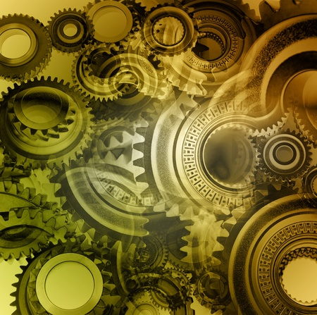 Closeup of steel gears meshing together Stock Photo - 15513967