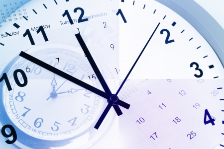 Clocks and calendar pages Stock Photo - 15330727