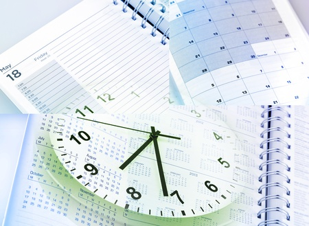 Clock face, calendars and diary pages Stock Photo - 15330747