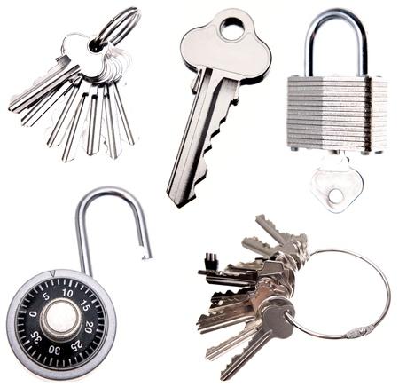 llaves: Recogida de llaves y cerraduras en fondo liso