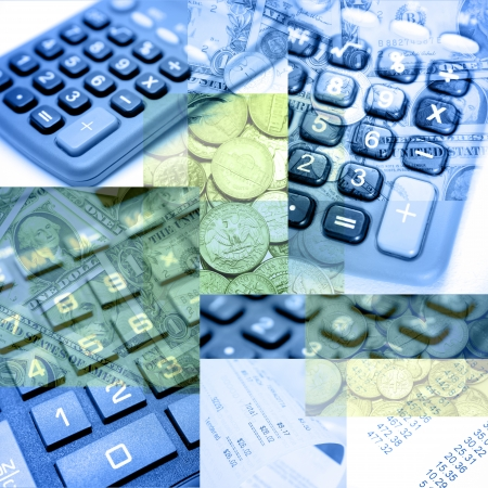 taxes budgeting: Calculators and other finance objects composite Stock Photo
