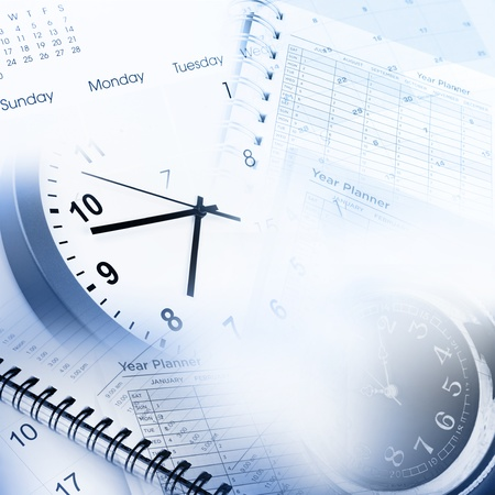 agenda: Clock faces, calendar and diary pages Stock Photo