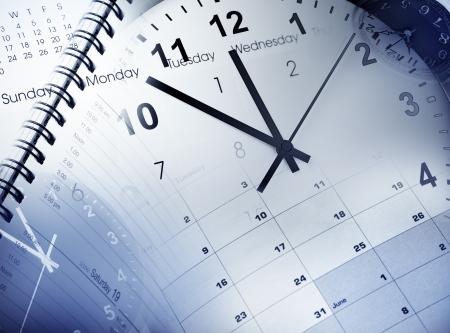 annual event: Esferas de reloj, calendario y agenda Foto de archivo
