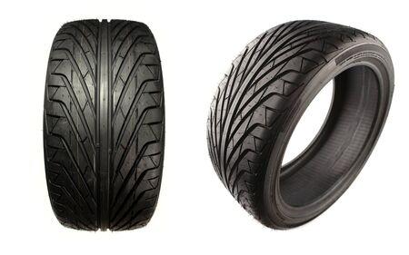 Auto tyres isolated on plain background Stock Photo - 15372545