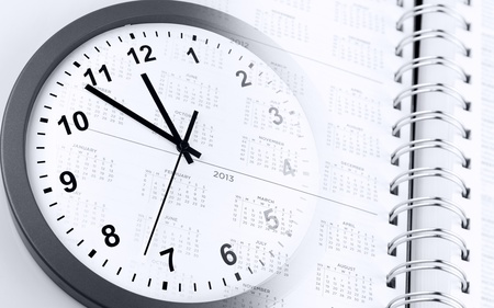 Clock face and calendar page Stock Photo - 15372517