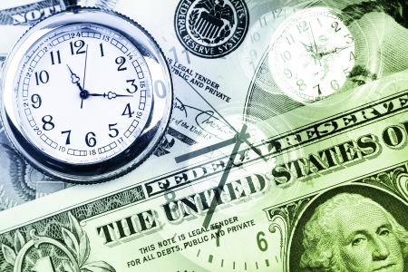 time money: Clocks and cash. Time is money concept