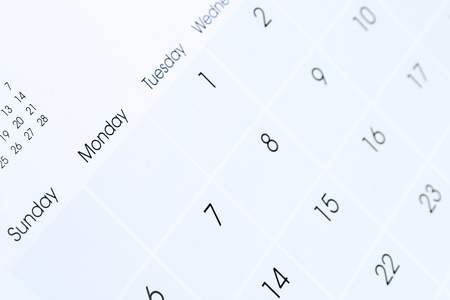 schedule appointment: Closeup of numbers on calendar page