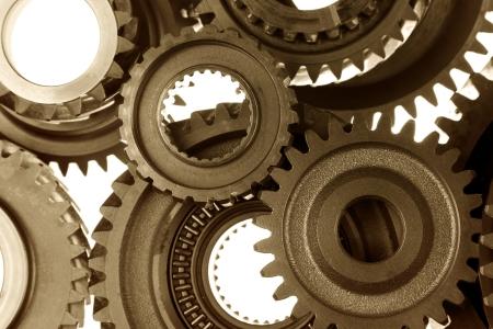 cog wheels: Closeup of metal cog gears