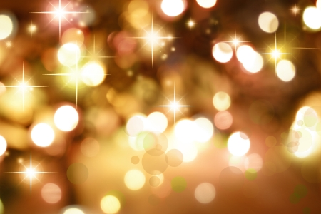 blurry lights: Starry golden tone Christmas background Stock Photo