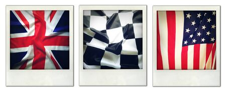 checker flag: American, checkered and Union Jack flags