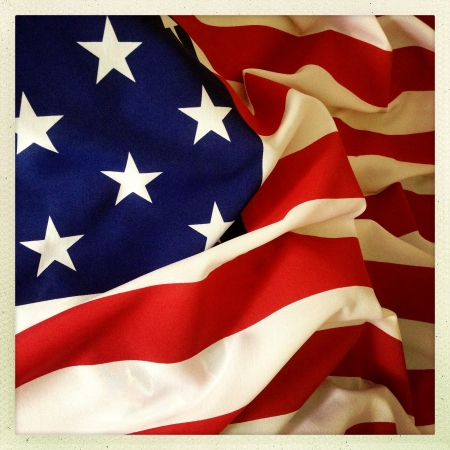 Closeup of American flag photo