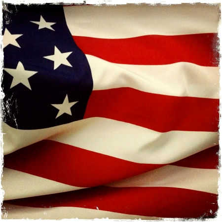 Closeup of American flag photo