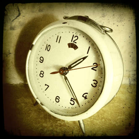 old fashioned sepia: Closeup of vintage clock Stock Photo