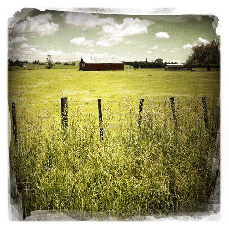 old barn: An old red barn in rural scene Stock Photo