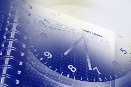 Clock face and page of year planner Stock Photo - 16801197