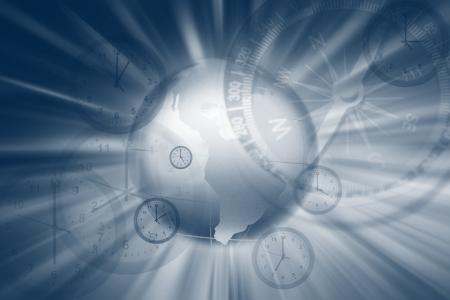 surveying: Compass, globe and clocks composite