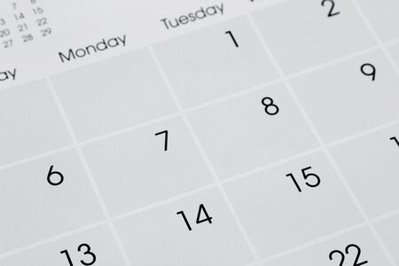 Closeup of numbers on calendar page photo