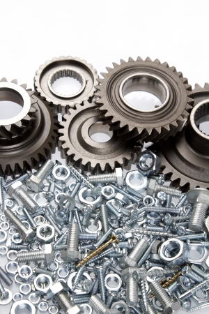 Steel gears, bolts and nuts Stock Photo - 17200764