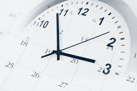 annual events: Clock face and calendar composite Stock Photo