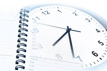 Clock face and diary page Stock Photo - 17361031
