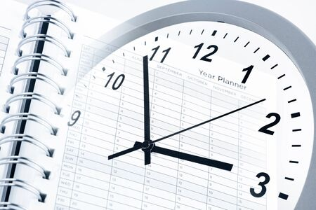 Clock face and year planner Stock Photo - 17361036