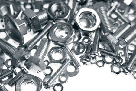 Assorted nuts and bolts closeup Stock Photo - 17377796