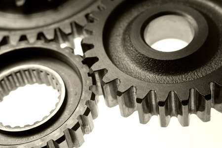 Closeup of three metal gears Stock Photo - 17381150