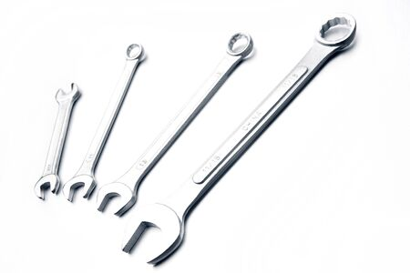 Closeup of four spanners on plain background Stock Photo - 17377794