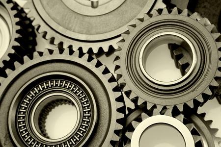 Closeup of teeth of steel gears meshing together Stock Photo - 17381217
