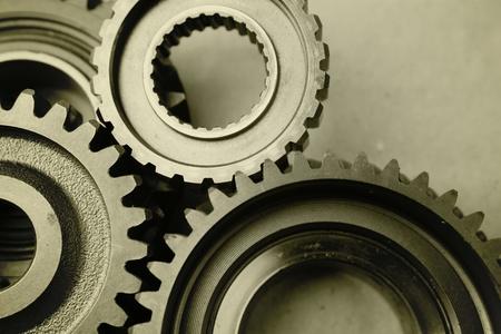 Closeup of teeth of steel gears meshing together Stock Photo - 17381153