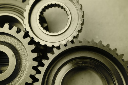 Closeup of teeth of steel gears meshing together Stock Photo - 17381153