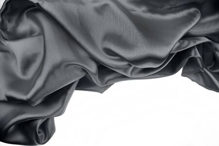 Closeup of rippled black silk fabric Stock Photo - 17381263