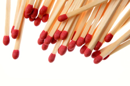 Pile of matchsticks on white Stock Photo - 17381120