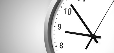 Closeup of clock on grey background Stock Photo - 17455311