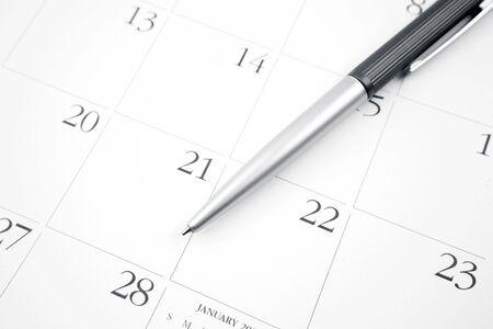 Pen on calendar page closeup Stock Photo - 17455316