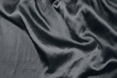 Closeup of rippled black silk fabric Stock Photo - 17455319