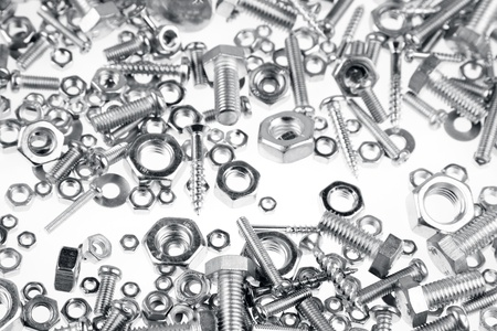 fasteners: Assorted nuts, bolts and screws closeup