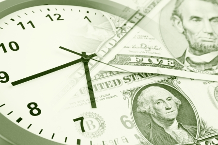 save time: Clock and banknotes  Time is money concept Stock Photo